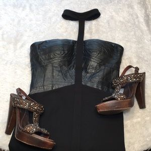 Leather corset BEBE dress